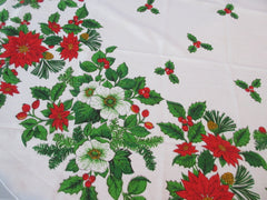 OVAL Christmas Bouquet Poinsettias Novelty Vintage Printed Tablecloth (82 X 59)