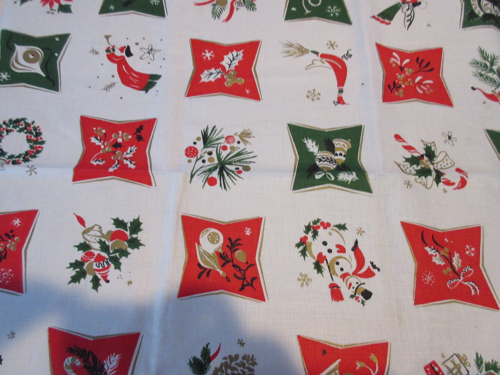 HTF SQUARE Hardy Craft Christmas Cards NOS Novelty Vintage Printed Tablecloth (52 X 51)