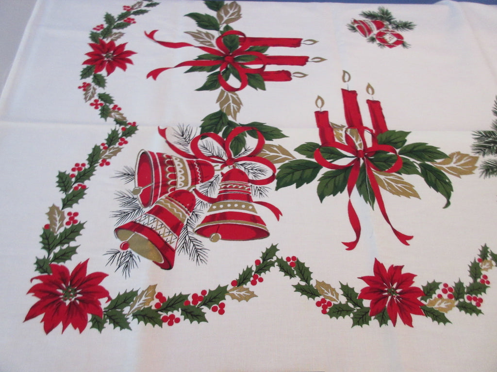 SQUARE Christmas Bells Ribbons NOS Novelty Vintage Printed Tablecloth (51 X 51)