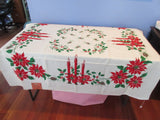 SQUARE Christmas Poinsettias Pinecones NOS Novelty Vintage Printed Tablecloth (53 X 52)