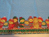 SQUARE Christmas Bears on Blue NOS Novelty Vintage Printed Tablecloth (53 X 52)