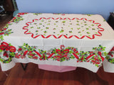 RECTANGULAR Christmas Wreath Heavier NOS Novelty Vintage Printed Tablecloth