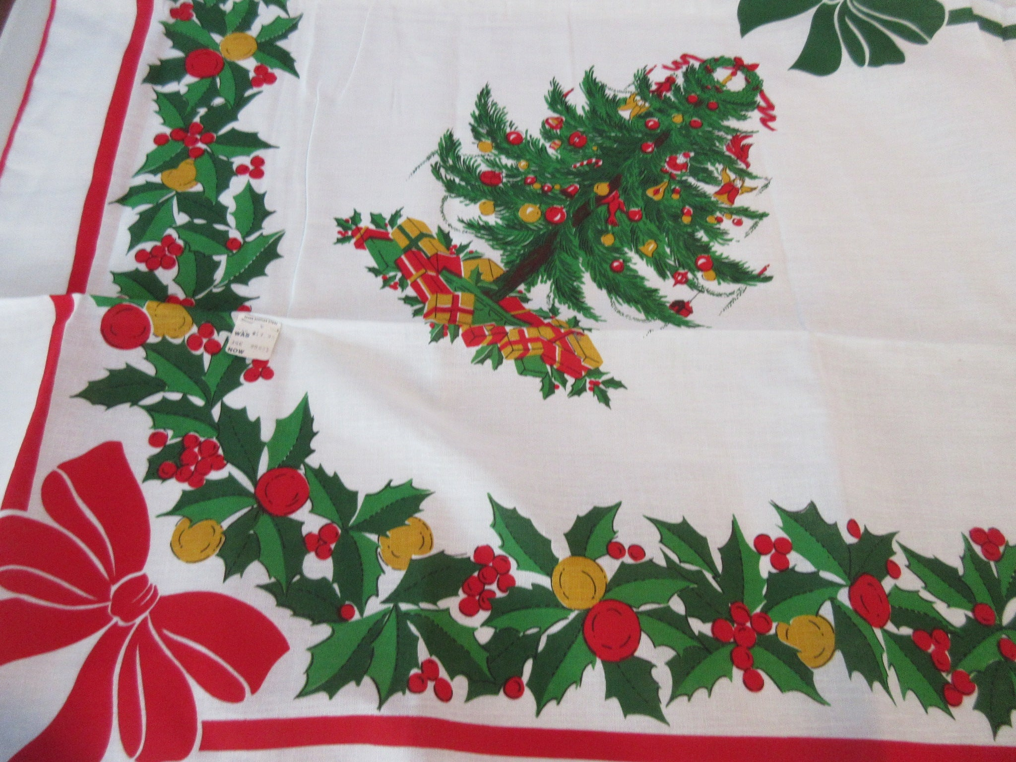RECTANGULAR Primary Christmas Trees NOS Novelty Vintage Printed Tablecloth (83 X 60)