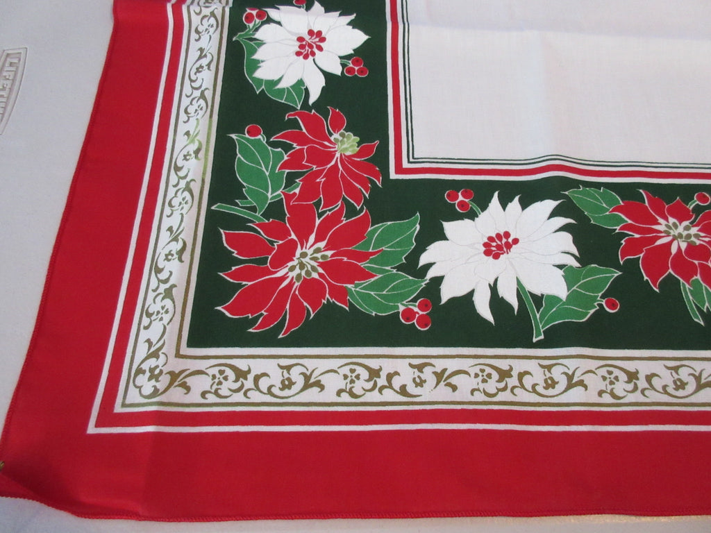 RECTANGULAR Christmas Poinsettias Novelty Vintage Printed Tablecloth (70 X 51)