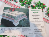 RECTANGULAR Christmas Lace and Holly NOS Novelty Vintage Printed Tablecloth (69 X 52)