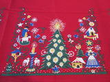 RECTANGULAR Unwashed Wilendure Christmas Trees NOS Vintage Printed Tablecloth (71 X 50)