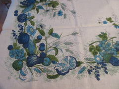 Blue Country Harvest Fall Fruit Vegetables MWT Linen Vintage Printed Tablecloth (68 X 51)
