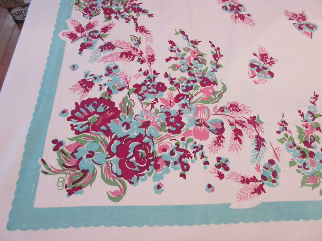 Larger Pink Magenta Flowes on Aqua Floral Vintage Printed Tablecloth (81 X 57)