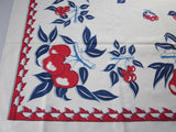 Patriotic Red Blue Calico Fruit MWT Vintage Printed Tablecloth (51 X 49)