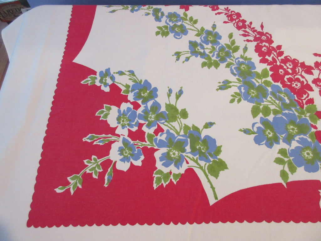 Larger Blue Green Red Flowers on Red Floral Vintage Printed (70 X 60)