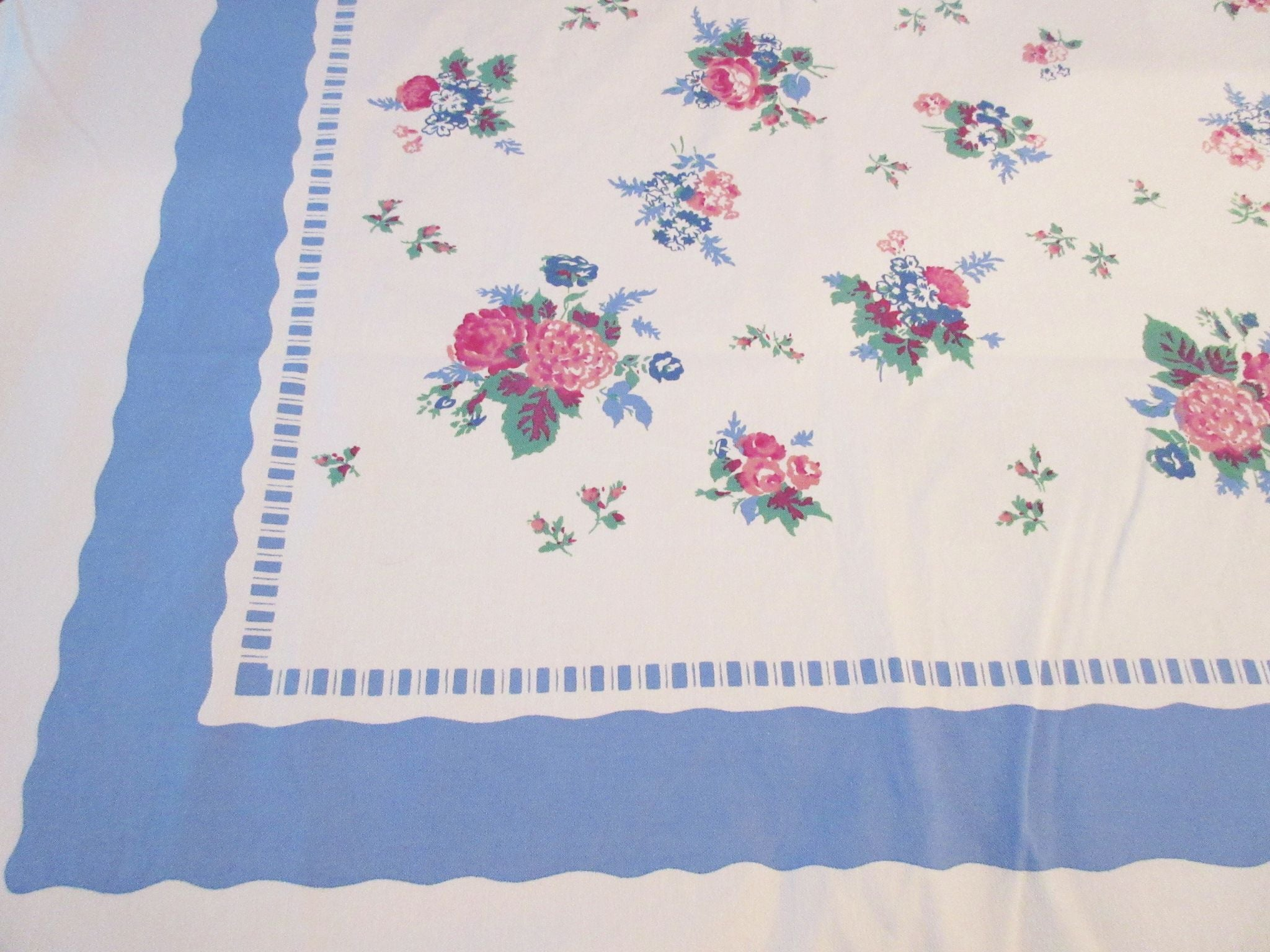 Larger Romantic Pink Roses on Blue Floral Vintage Printed Tablecloth (82 X 54)