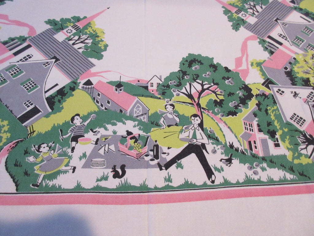 Family Picnic Church Town Novelty Vintage Printed Tablecloth (49 X 47)