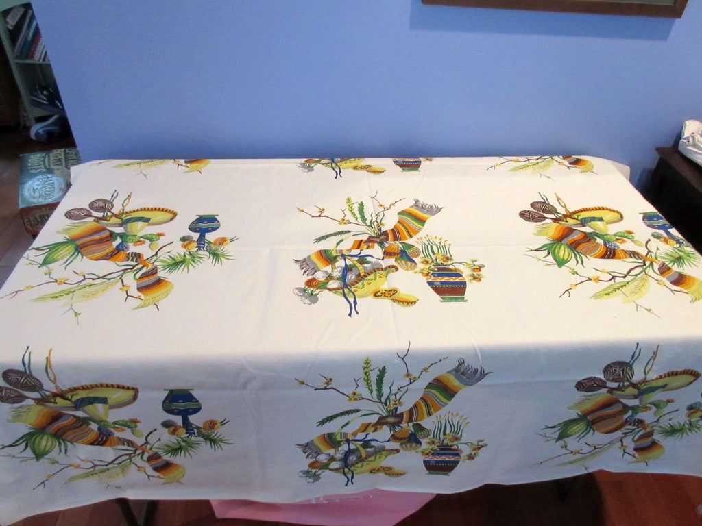 Fall Wilendur Mexican Serape Hat Novelty Vintage Printed Tablecloth (53 X 50)