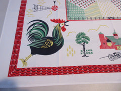 Giant Rooster Windmills Farm Fields Novelty Vintage Printed Tablecloth (47 X 47)
