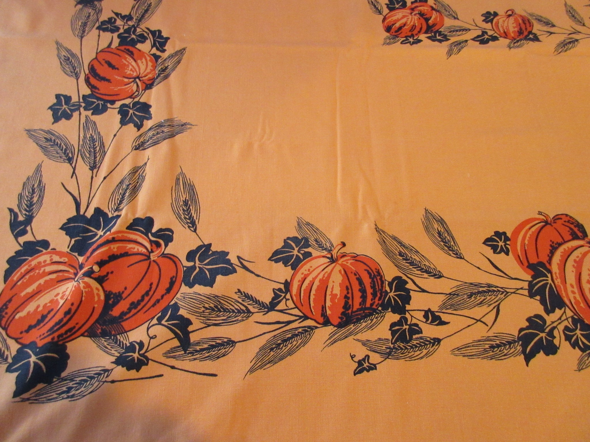 Rare Halloween Black Pumpkins on Orange Novelty Vintage Printed Tablecloth (49 X 46)