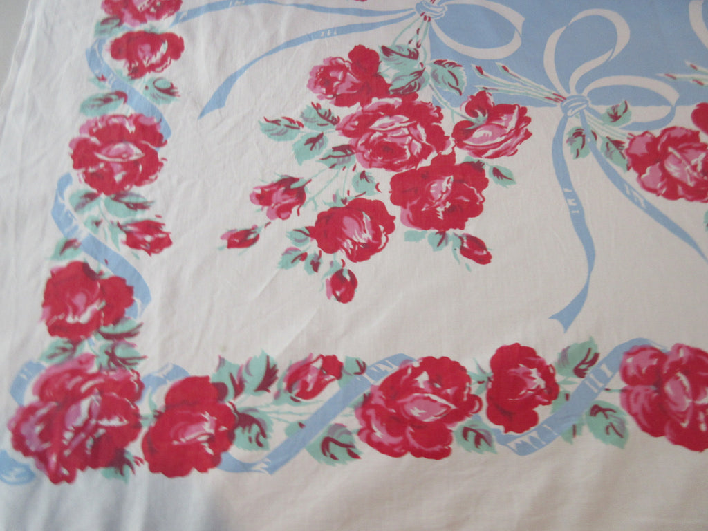 Pink Roses on Blue Ribbons Floral Vintage Printed Tablecloth (47 X 46)