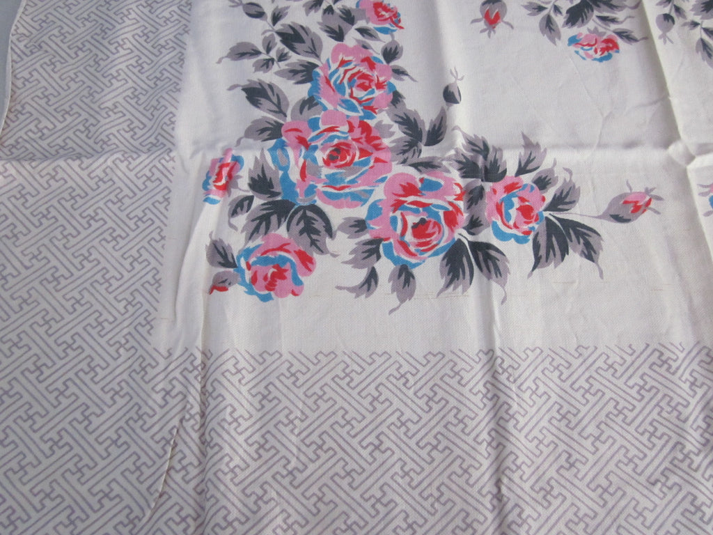 Blue Pink Roses on Gray Rayon Floral MWT Vintage Tablecloth (48 X 46)