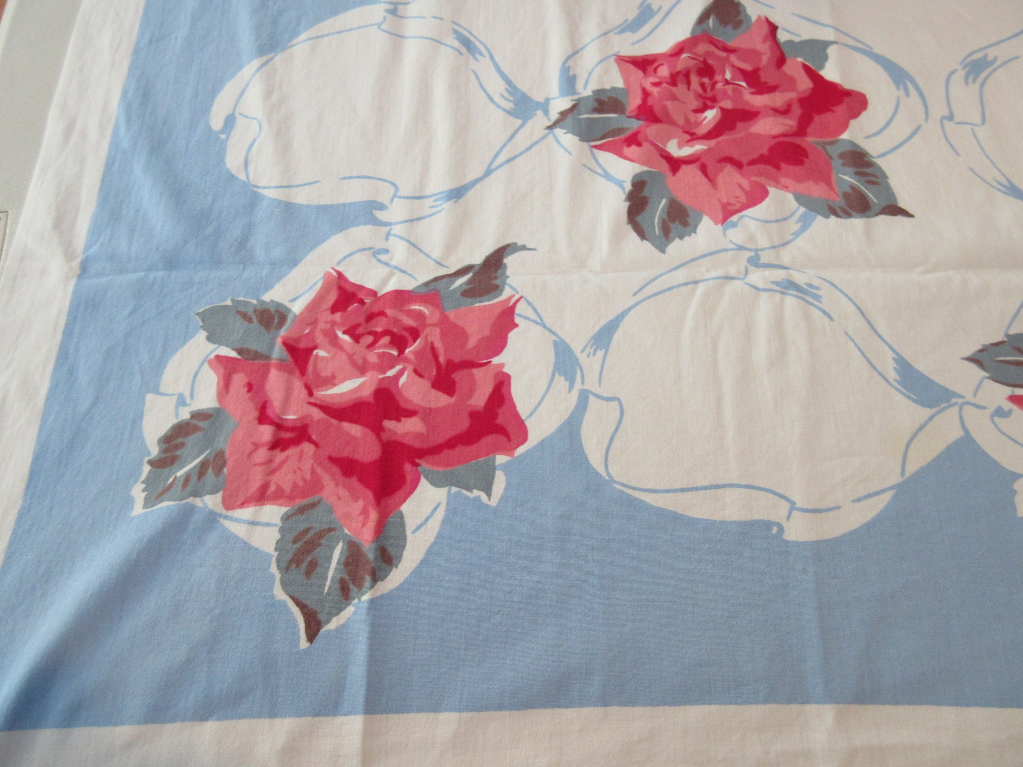 Pink Roses on French Blue Cutter? Floral Vintage Printed Tablecloth (51 X 45)