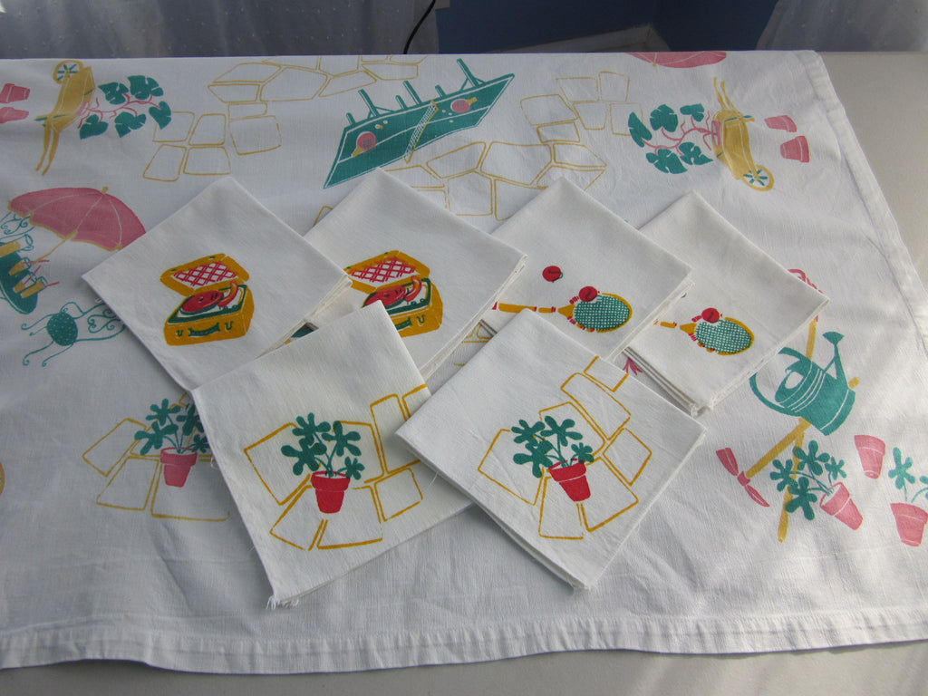 Hand printed Gardening Child's Topper Napkins Novelty Vintage Printed Tablecloth (36 X 32)