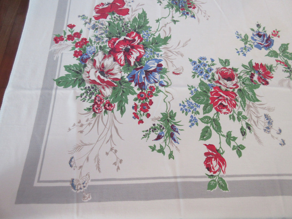Red Blue Poppies on Gray Floral Vintage Printed Tablecloth (61 X 51)