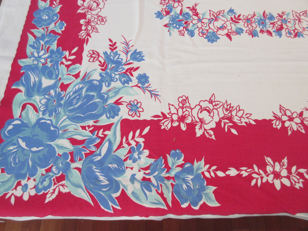 Blue Green Tulips on Red Floral Vintage Printed Tablecloth (60 X 54)