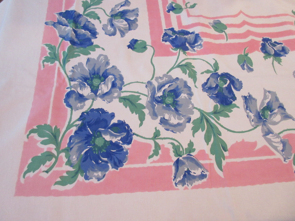 Heavy Blue Poppies on Pink Cutter? Floral Vintage Printed Tablecloth (86 X 59)