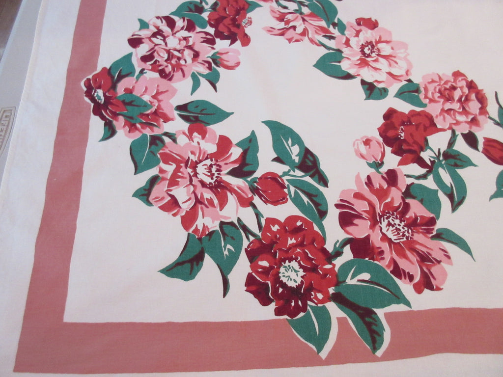 Bright Wild Roses on Pink Floral Vintage Printed Tablecloth (63 X 51)