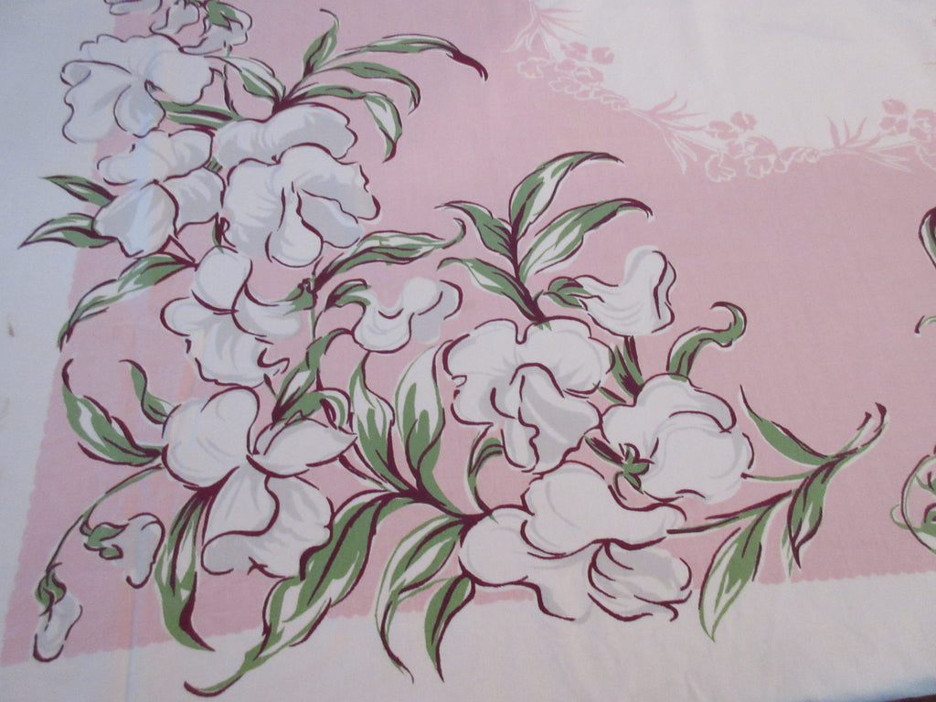 Shabby Sweet Peas on Pink Floral Vintage Printed Tablecloth (53 X 48)