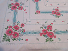 Pink Daisies on Aqua Delicate Floral Vintage Printed Tablecloth (50 X 48)
