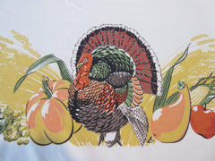 HTF Prints Charming Thanksgiving Turkey Banquet Fall Novelty Vintage Printed Tablecloth (90 X 61)