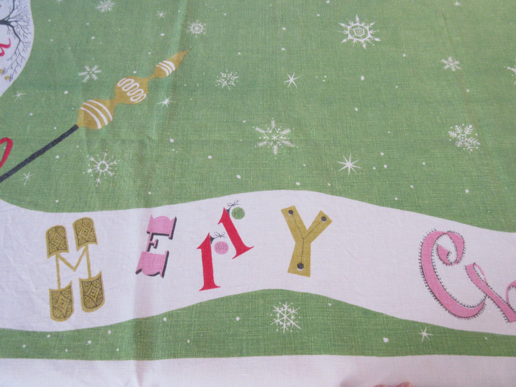 HTF Funky Atomic Linen Banners Christmas Vintage Printed Tablecloth (65 X 51)
