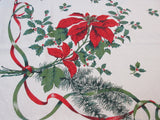 Large Linen Poinsettias Holly Christmas Vintage Printed Tablecloth (79 X 58)