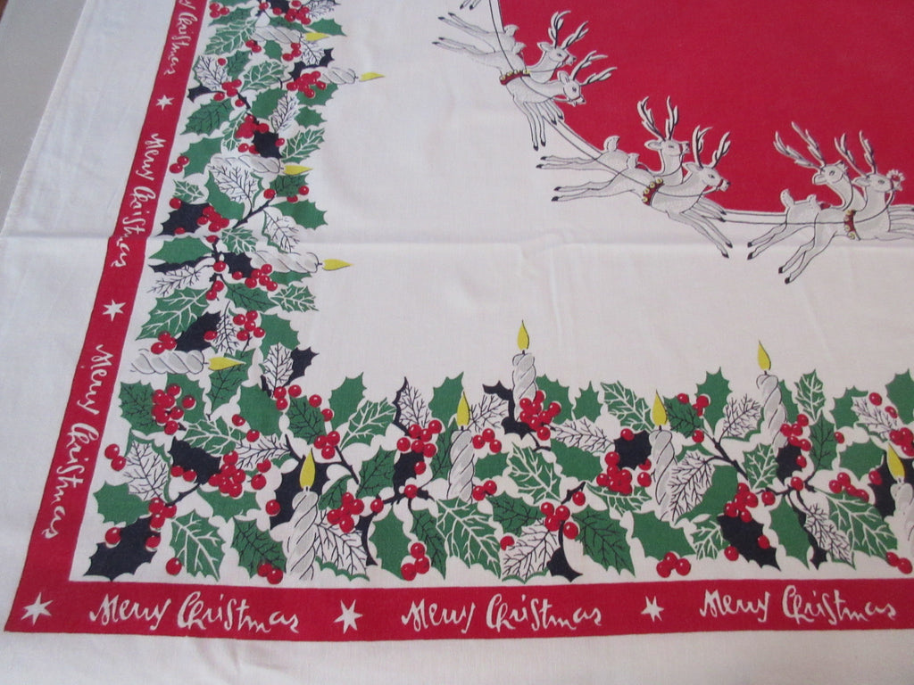 Santa Sleigh Reindeer on Red Christmas Vintage Printed Tablecloth (62 X 49)