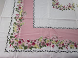 Fabulous Yellow Green Flowers on Pink Floral MWT Vintage Printed Tablecloth (52 X 50)