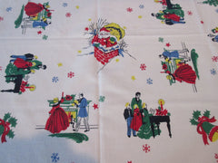 Primary Victorian Vignettes Santa Caroling Christmas Vintage Printed Tablecloth (50 X 46)