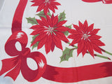 Poinsettias Pinecones and Bows Christmas Vintage Printed Tablecloth (61 X 53)