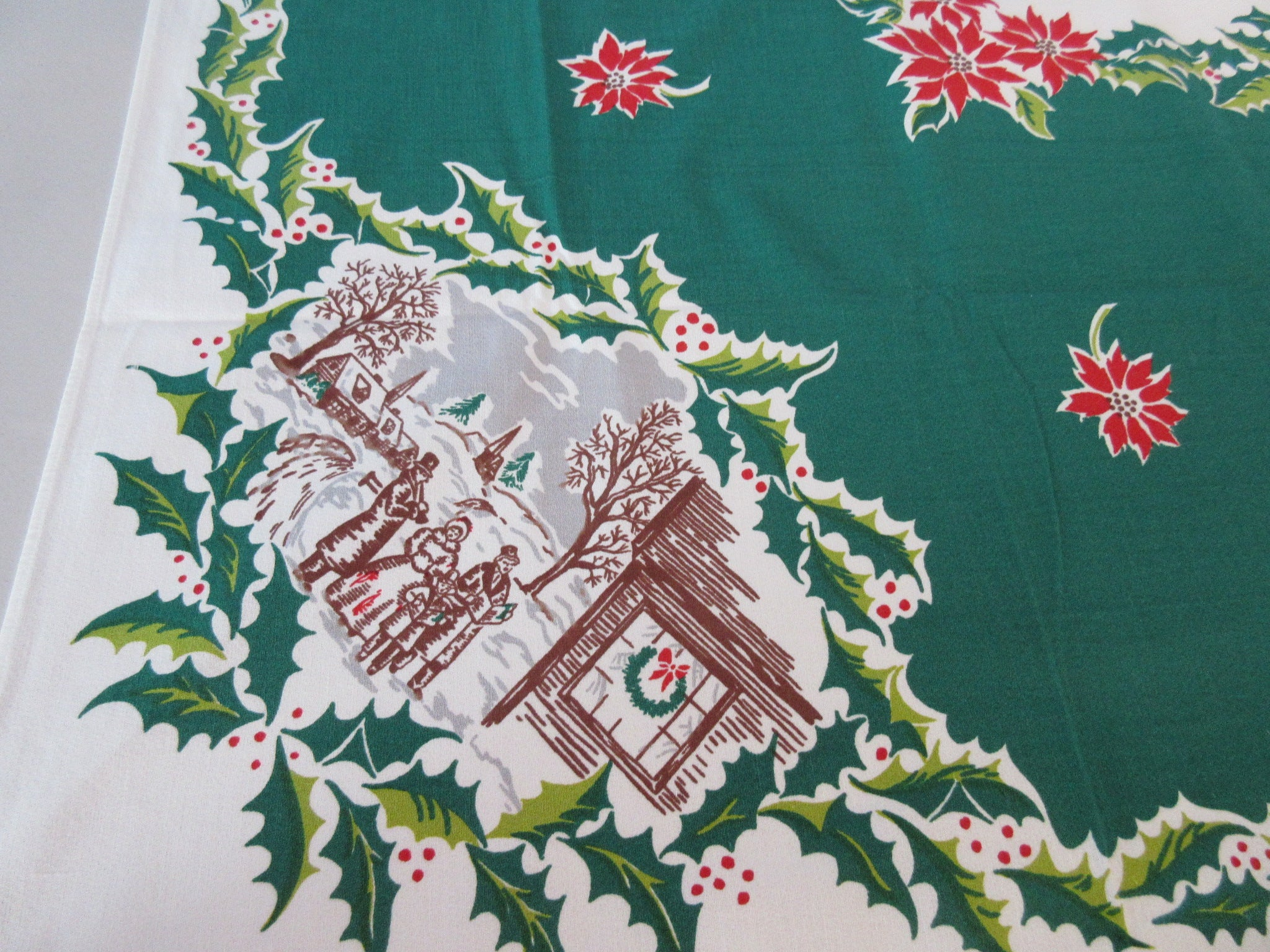 Victorian Vignettes Poinsettias on Green Christmas Vintage Printed Tablecloth (63 X 50)