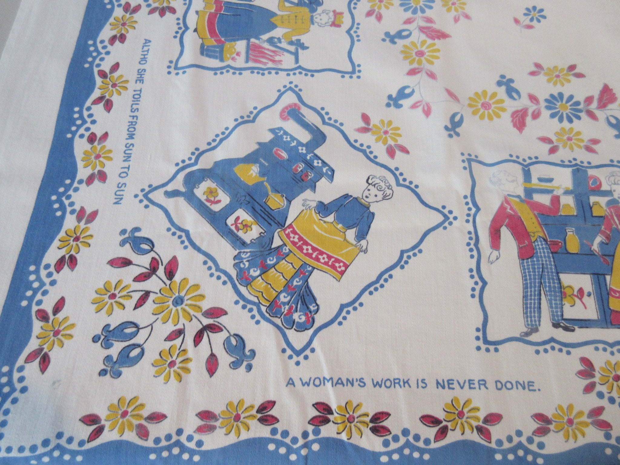 Womans Work Poem on Blue Novelty Vintage Printed Tablecloth (48 X 45)