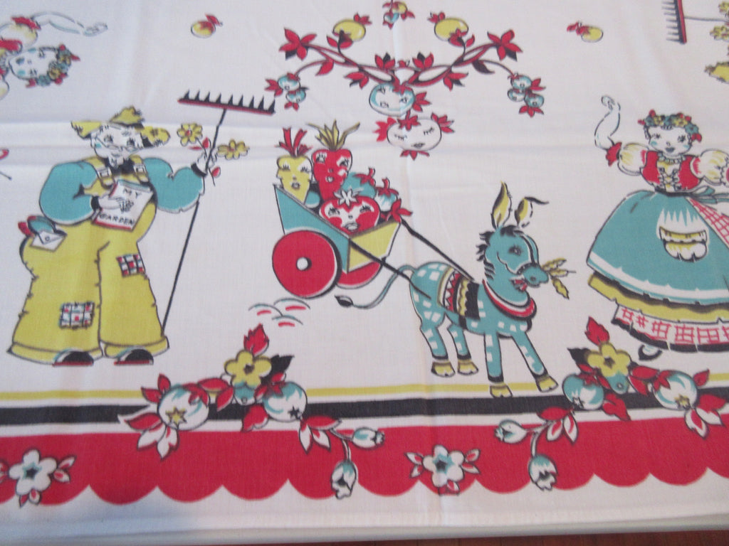 Broderie Farmer Wife Donkey Farm Novelty Vintage Printed Tablecloth (49 X 43)
