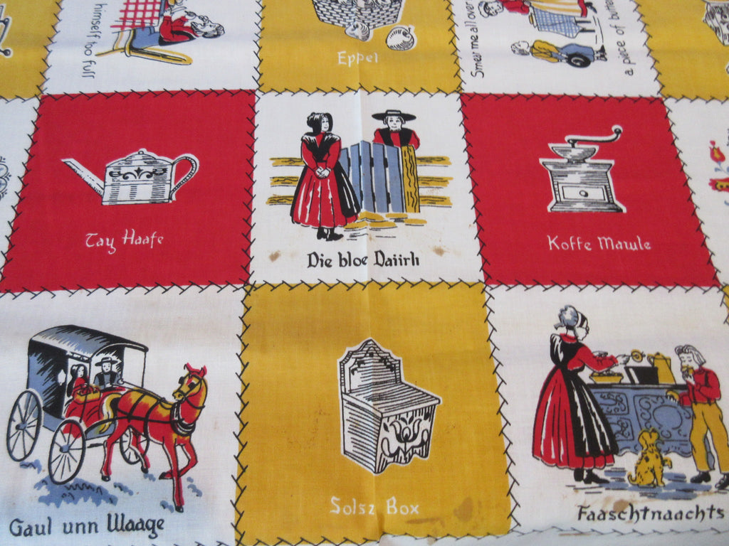Unwashed PA Dutch Ethnic Primary Novelty Vintage Printed Tablecloth (51 X 50)