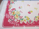 Primary Yellow Nasturtiums on Red Floral Vintage Printed Tablecloth (62 X 52)