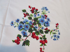 Wilendur Red Rose Hips Blue Chrysanthemums Floral Vintage Printed Tablecloth (69 X 54)