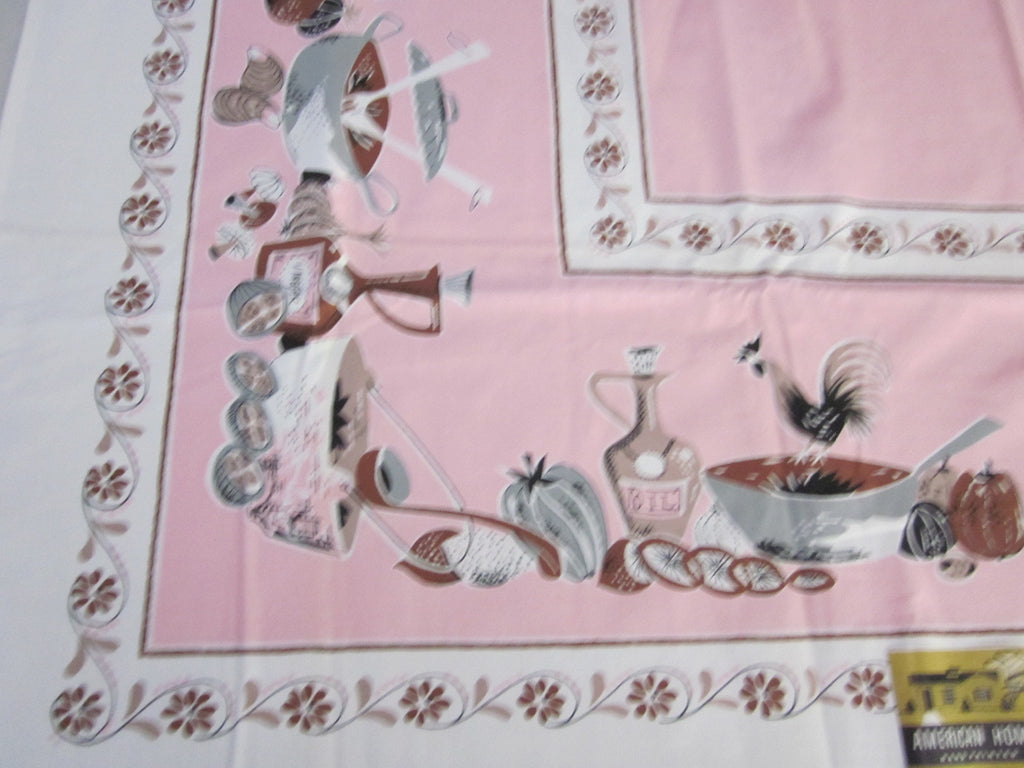 Pink Cooking Rooster NWT Novelty Vintage Printed Tablecloth (49 X 48)