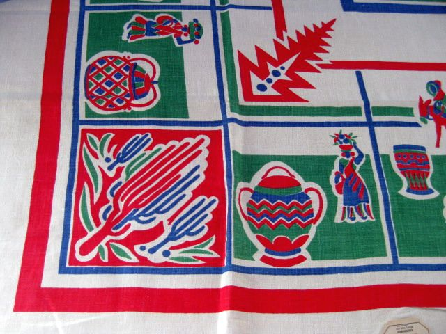 Primary Mexican Linen MWT Novelty Vintage Printed Tablecloth (51 X 51 unmeasured)