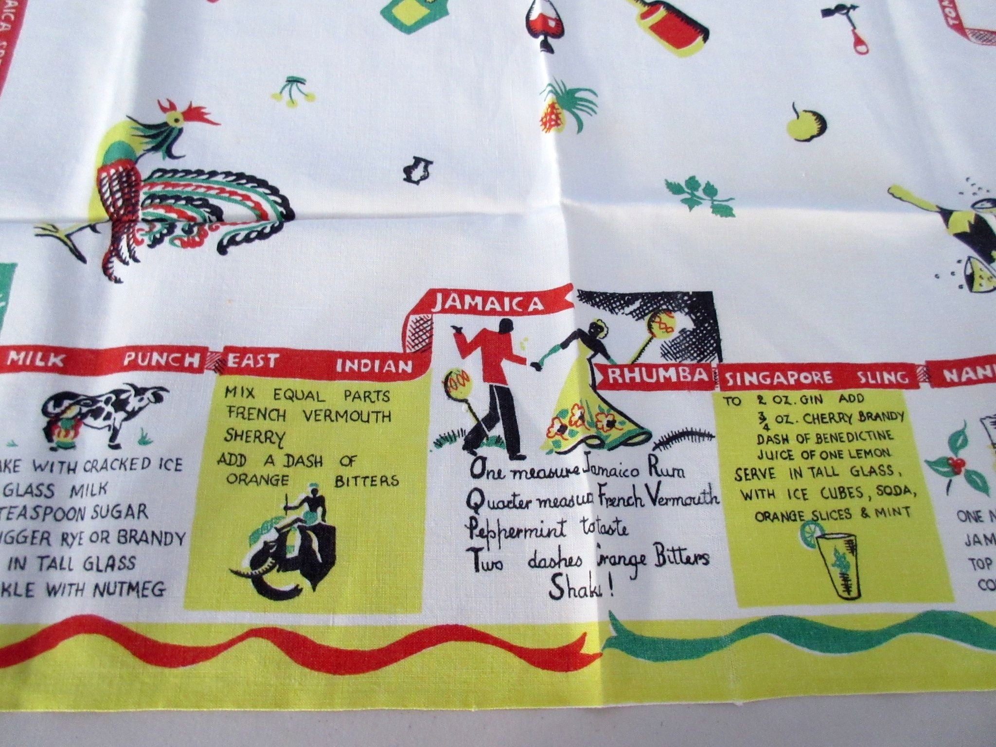 Cartoon Cocktail Beverages Recipes Linen Novelty Vintage Printed Tablecloth (34 X 32)