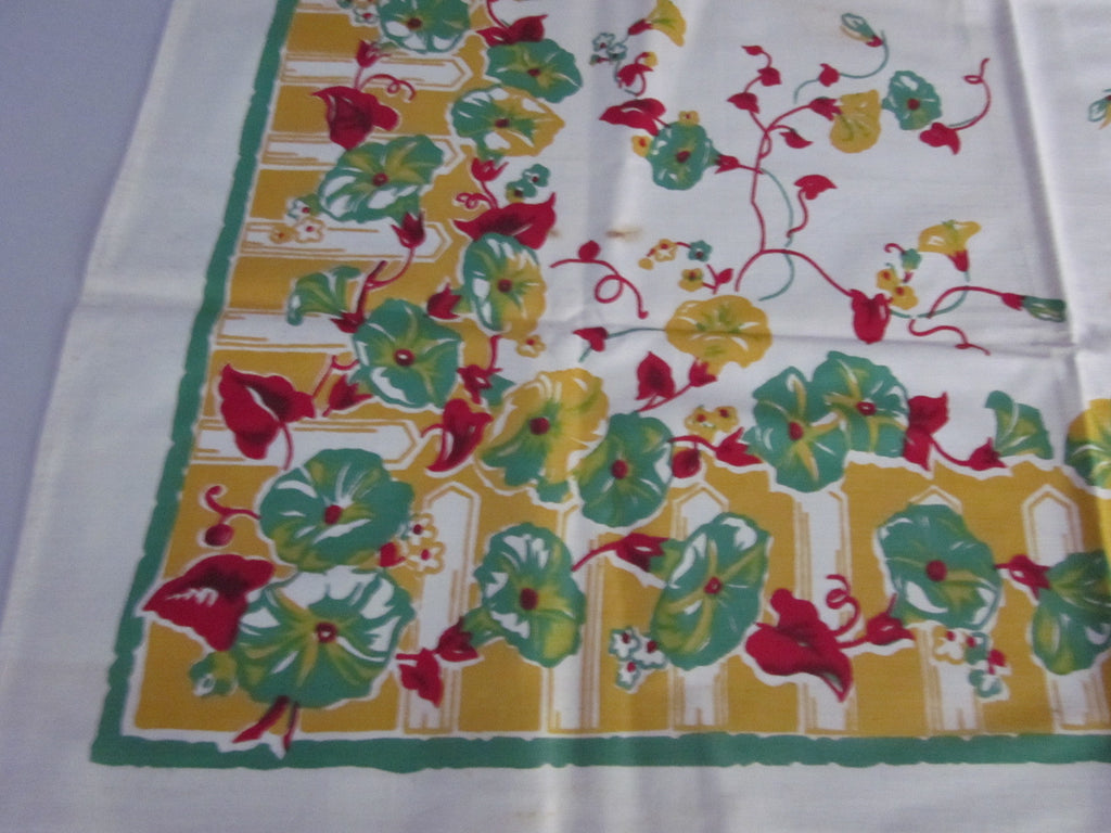 Green Morning Glories on Yellow Floral Topper NWT Vintage Tablecloth (36 X 35)