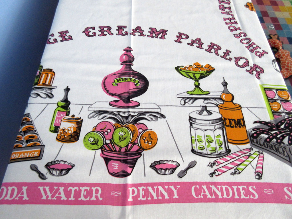 Larger Simtex Ice Cream Parlor Candy Store Novelty Vintage Printed Tablecloth (64 X 51)
