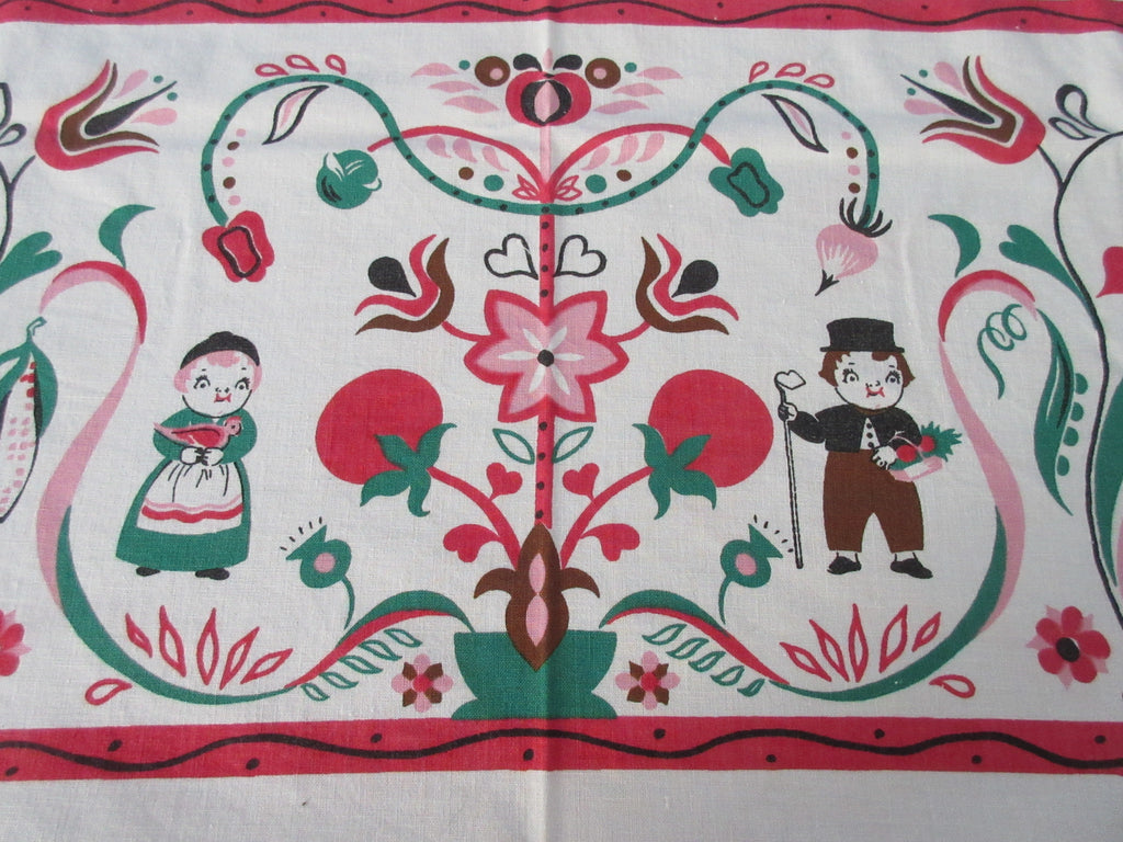 Campbell Kids Fall Pilgrims Tomato Soup Novelty Vintage Printed Tablecloth (50 X 49)