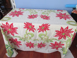 Giant Christmas Poinsettias Linen Vintage Printed Tablecloth (84 X 67)