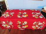 Bright Wilendur Liquor Labels on Red Novelty Vintage Printed Tablecloth (52 X 51)
